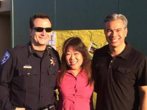 Rob Bonta with an APD officer and Councilmember Lena Tam